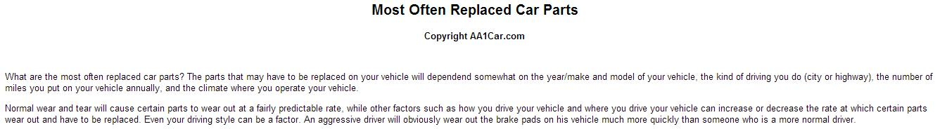 Get Used Car Parts to Save on Costs of Replacing the Most Common Ones
